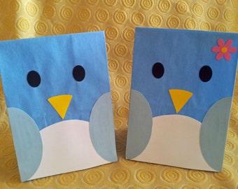 Blue Bird Treat Sacks - Woodland Forest Bird Tweet Theme Birthday Party Favor Goody Bags by jettabees on Etsy