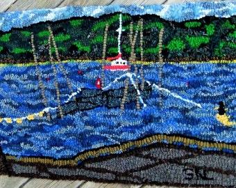 Hand Hooked Primitive Rug - The Nets at Douglas Harbour - OOAK Eco Friendly Fiber Art