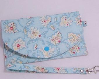 Teal Floral Wristlet, Phone Wristlet, Mini Wallet Wristlet, iPhone Wallet, Checkbook Wallet, Made in USA