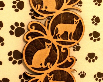 Cats Wall Plaque Handmade Wooden Fretwork Art