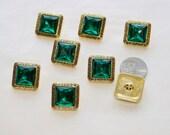 8 Emerald Green Rhinestone Buttons Jeweled Gold Faux Acrylic Square Rhinestone (AP 5)
