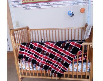 Black and Red Tartan Lap Blanket- ready to ship