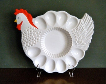 Chicken Deviled Egg Serving Dish, Cute Kitchen Kitch, Circa 1980s, Serve Deviled Eggs and Quiche, White and Red Colors, Perfect for Easter