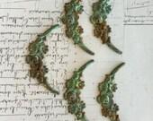 1 Flowered Garland metal finding, stamped flower garland, FREE SHIPPING
