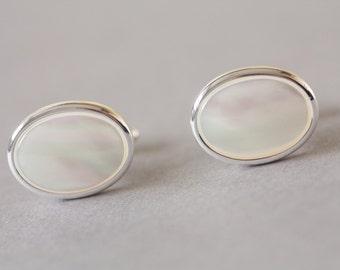 Mother of pearl wedding cufflinks, Ivory cuff links