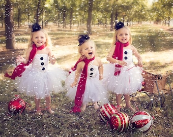 Mrs. Frosty the Snowman Tutu Dress Set With Mini Top Hat and Red Scarf - Size 2T to Girls's Size 6