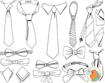 Fathers Day ClipArt, Mens Tie Line Art, Digital Illustrations for Dad, Grandpa, Uncle, Instant Download Digital Graphics