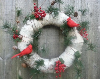 birch bark holiday wreath