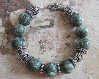 Seraphinite Bracelet -- AA Seraphinite and Sterling Bracelet