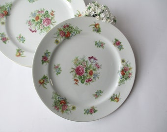 Vintage Aichi China Occupied Japan Floral Dinner Plates Set of Four