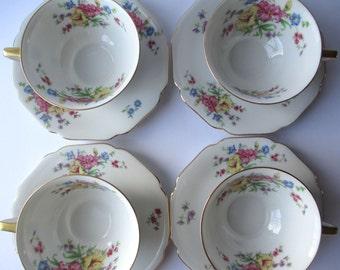 Vintage Teacups and Saucers Heinrich Strasbourg Wanamaker Floral Set of Four