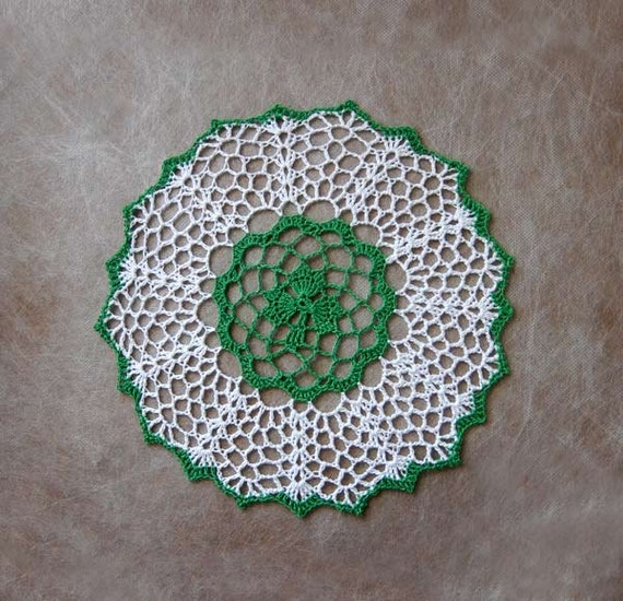 Irish home decor shamrock doily crochet lace leaf by for Shamrock decorations home