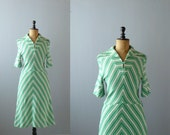 Vintage striped dress. 1970s dress. green dress