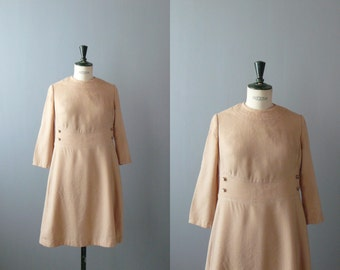 Vintage 1960s dress. Camel wool dress