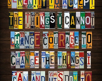 Serenity Prayer Recycled License Plate Lettering Art Metal Reproduction PRINT