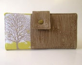 Handmade women wallet - white brown tree woodgrain - Yellow sunglow - ID clear pocket - Custom order - vegan - purse clutch - gift for her