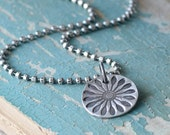 SALE Fine Silver Petal Burst Pendant Necklace Sterling Silver Artisan Jewelry Hand Textured Oxidized Charm Necklace