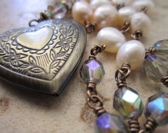 Brass Locket with Fresh Water Pearls & Czech Glass