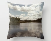 Lake House Art Pillow Cover, Cottage Sofa Throw Cushion Case, Blue Lodge Chair Accent, Whiteshell River Picture, Nautical Camper Decor