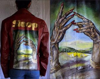 SLEEP - Hand Painted Leather Jacket - Large