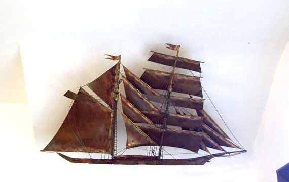 C. Jere Mid-Century Modern Clipper Ship Wall Sculpture