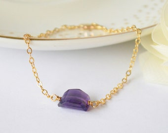 Amethyst Nugget & Gold Filled Chain Bracelet