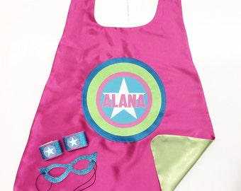 Girls Full Name Customized Cape Set - PERSONALIZED Super star cape plus Sparkle Wrist Bands and Sparkle Super Hero Mask - Easter ready