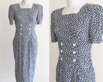 Vintage 1990's Ditsy Tiny Floral Dress / 80's 90's White Flowered Day Rayon Grunge Dress / All That JAZZ Funky Retro Dress