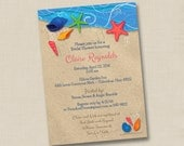 Shells on the Beach Custom Bridal Shower or Engagement Party Invitation Design- or any occasion