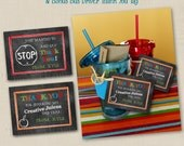 SALE Thank You for Sparking My Creative Juices Teacher Appreciation Gift & Bonus Bus Driver Tag - personalized 3x4 favor tag printable file