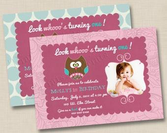 Look Whooo's Turning One Custom Birthday Party Photo Invitation Design- any age