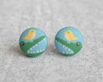 Gator and Bird Fabric Button Earrings