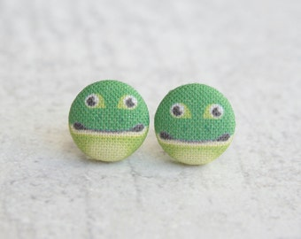 Frog Fabric Button Earrings