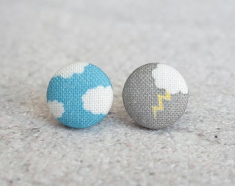 Fifty Percent Chance Fabric Button Earrings