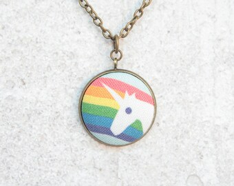 Rainbow Unicorn, Fabric Button Pendant Necklace