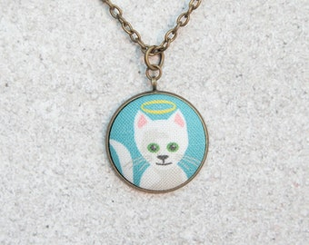 Good Kitty, Fabric Button Pendant Necklace