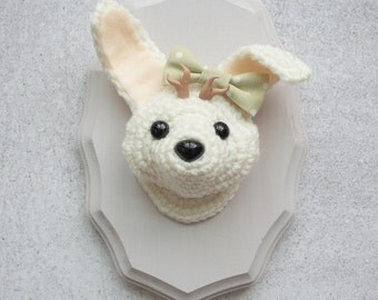 Faux Taxidermy Jackalope, White Bunny with Bow on Light Lavender Plaque