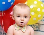 First birthday bowtie, boys birthday bow tie, happy birthday fabric bow tie, cake smash bow tie - Happy Birthday