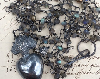 LE FEU - 3 Strand Labradorite Necklace with Sterling Beads and Silver French Sacred Heart Reliquary with Cherub Rosary Connec
