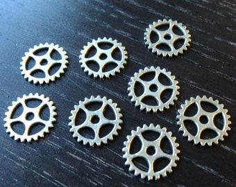 BULK (pkg/30) Gear Connectors Charms steampunk machine - for pendants, jewelry making, crafts, scrapbooking