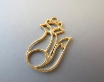 Gold Vermeil Fox Charm Pendant Artisan Made 12mm 19mm