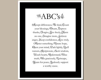 Word Wall Art - The ABCs of Life - Teacher's Gift - Inspirational Quote - 8x10 Digital File - #00001