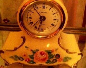 Vintage music box alarm clock cream white