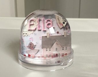 Personalised snow globe, collectable, custom snow globe, personalised gift, keepsake, doll house gift,  new baby girl gift 1st birthday gift