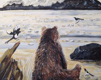 Chilkat Bear and Magpie Morning. Original painting by Suzi Linden 16x20