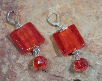 "2"" Long Fiery Red Orange Square Lampwork Dangle Earrings Iridescent Czech Faceted Beads Silver Tone Caps Lever Back Ear Hook Party Gift Idea"