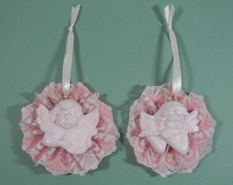 Pair Vtg Victorian Pastel Pink Cherub Lacy Angel Face Plaster Starch Ornament Lace Shabby Chic Wall Hanging Gift Package Topper Tree Display