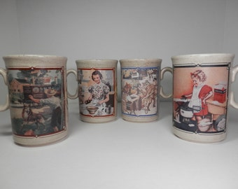 4 Watkins Almanac Mug Set Heritage Series Collection Made In England 1985 Ceramic Calendar Cup 1916 1918 1937 1939 Collector Replacement NOS