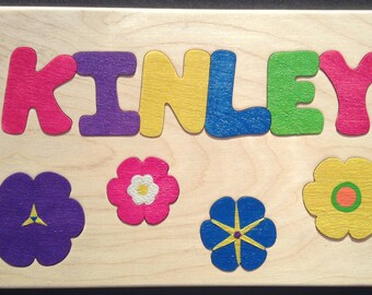 Wooden Custom Name Puzzle - any name & flowers for girls