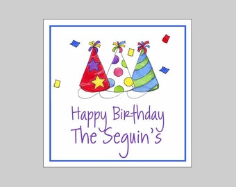 9 Personalized Party Hat Birthday Gift Labels, Stickers, Party Favors